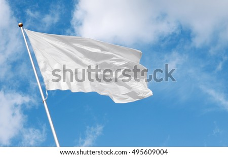White flag waving in the wind against cloudy sky. Perfect mockup to add any logo, symbol or sign #495609004