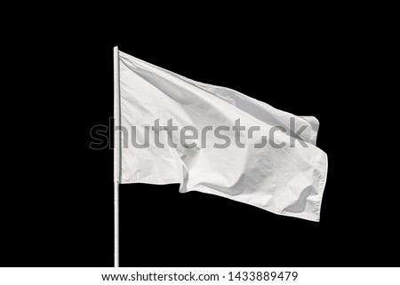 White flag waving in the wind, isolated on black background #1433889479