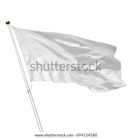 White flag waving in the wind on white background. Perfect mockup to add any logo, symbol or sign #694134580