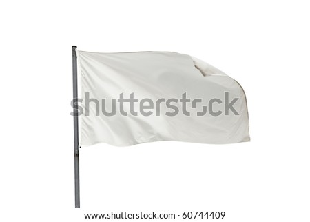 White flag waving on the wind. Isolated over white. Put your own text