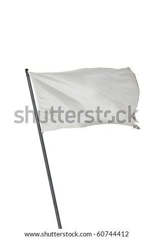 White flag waving on the wind. Isolated over white. Put your own text #60744412