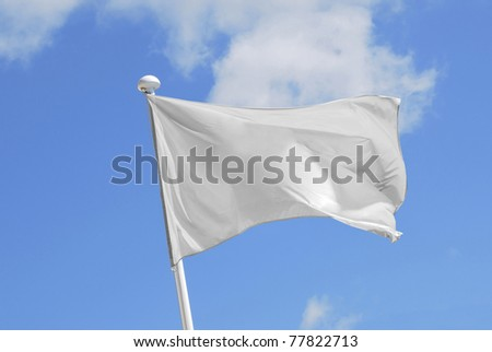 White flag waving over the sky. Promotional and advertisement object