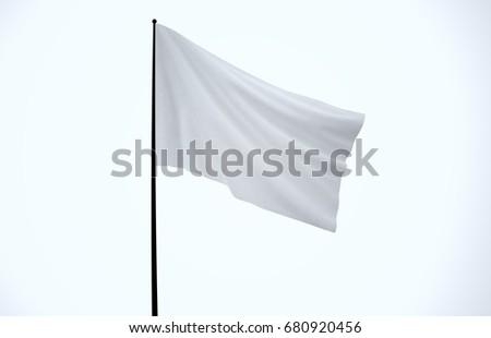 White Flag, White Fabric, 3D Render #680920456