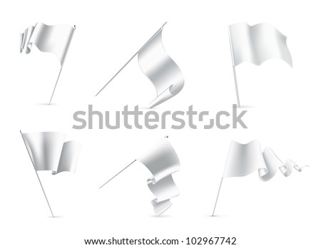 White Flags set, bitmap copy - stock photo