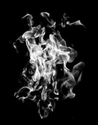 white flame smoke on black background