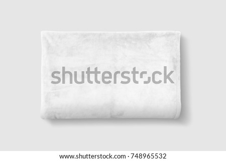 White Fleece Blanket Mockup Set. White fluffy blanket on white background.
