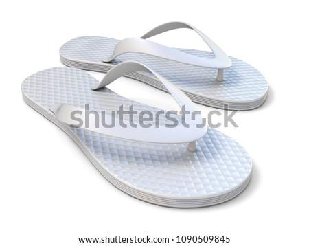 100ca3276fb31 White flip flops 3D rendering illustration isolated on white background