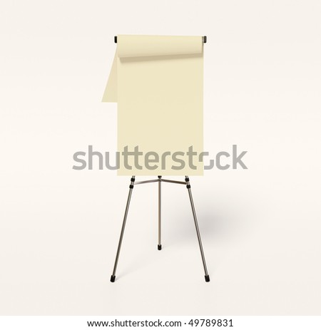 white flipchart on white background isolated