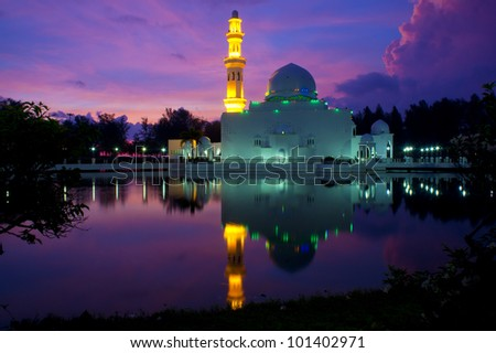 white float mosque with great sunrise