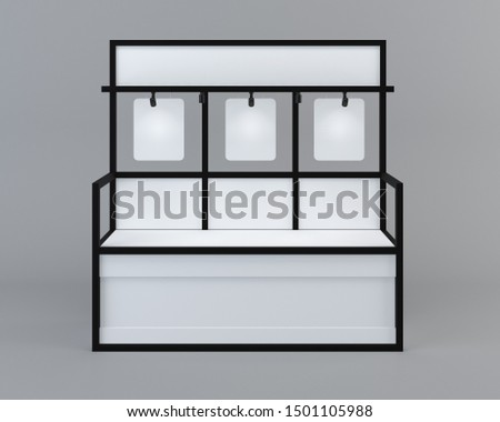 White Floor Display Rack For Supermarket Blank Empty Displays With Shelves Products On Gray Background Isolated. Ready For Your Design. Product Packing with clipping path. 3D rendering