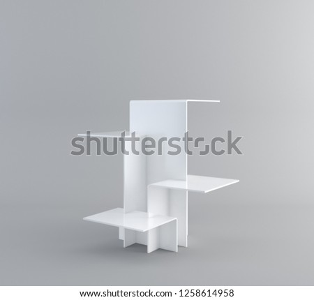White Floor Display Rack For Supermarket Blank Empty Displays With Shelves Products On White Background Isolated. Product Packing. 3D rendering - Illustration