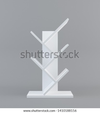 White Floor Display Rack For Supermarket Blank Empty Displays With Shelves Products On White Background Isolated with clipping path. Ready For Your Design. Product Packing. 3D rendering - Illustration