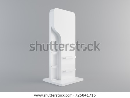 White Floor Display Rack For Supermarket Blank Empty Displays With Shelves Products On White Background Isolated. Ready For Your Design. Product Packing. 3D rendering