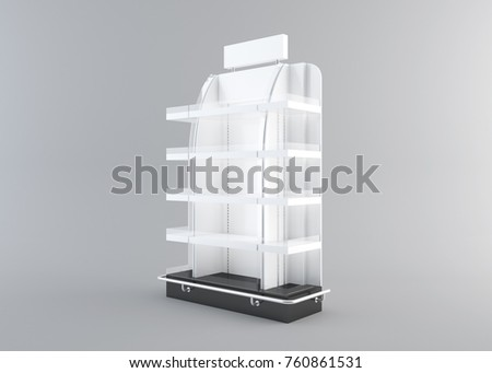 White Floor Display Rack For Supermarket Blank Empty Displays With Shelves Products On White Background Isolated. Ready For Your Design. Product Packing with Clipping Path. 3d rendering