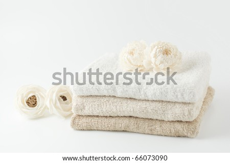 White flower and towels