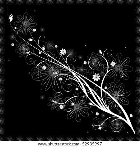 White flower pattern on black background - stock photo