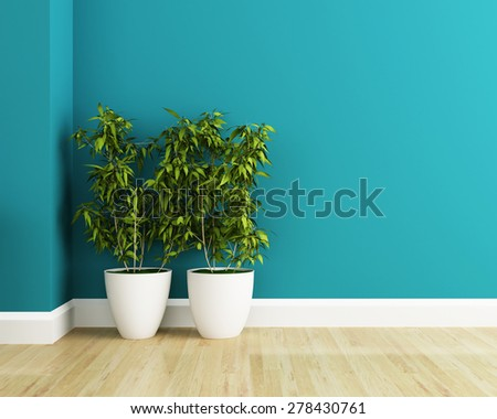 white flower plot and blue wall interior - Shutterstock ID 278430761