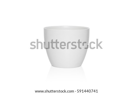 White flower pot isolated on white background. #591440741