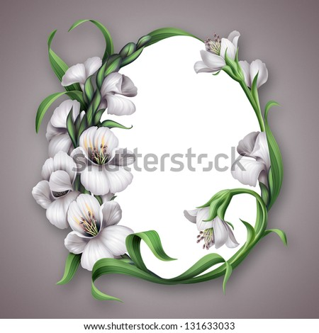 white flowers album frame floral vignette nature cover layout