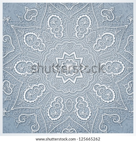 White flowers background. Can be used for wedding invitation, valentines day design, web site backgrounds and others. Illustration with many details look like hand made napkin. Round lace design.