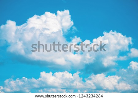 White fluffy cloud on blue sky. Cloudscape photo background. Optimistic skyscape with fluffy cloud. Fluffy cloud on sunny sky. Climate or weather change. Harmony concept. Fluffy cloud abstraction #1243234264