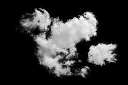 white fluffy clouds isolated on a black background, clipart