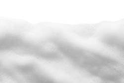 White foam texture isolated on white background. Cosmetic cleanser, soap, shampoo bubbles