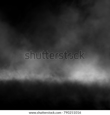 White fog and mist effect on black background.