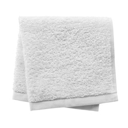 White folded towel isolated on white background