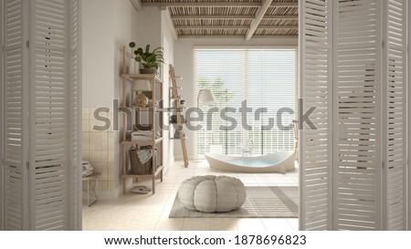 White folding door opening on minimalist luxury white bathroom with big round bathtub, panoramic window with blinds, white interior design, architect designer concept, blur background, 3d illustration Stock photo ©