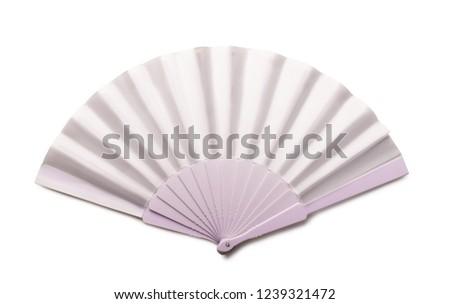 White folding hand fan mockup isolated on white background #1239321472