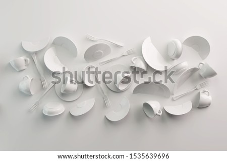 White Food background concept for design menu restaurant or cafe. Food flyer. Ceramic Plates and Dishes. White coffee mugs and saucers on a white background. 3d render
