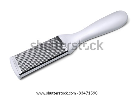 White foot rasp to removing flaky  and  callouses feet isolated on white