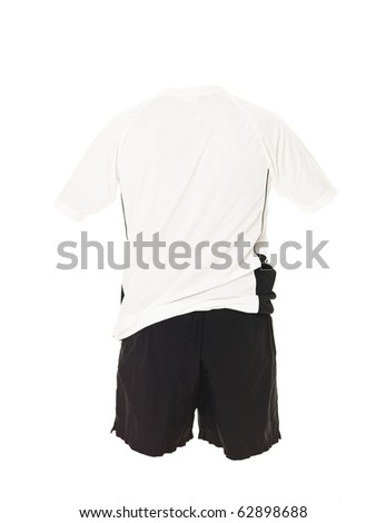 White football shirt with black shorts isolated on white background