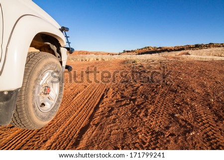 white for by four car on a sandy trail in the Kalahari desert, Namibia, Africa Stock photo ©