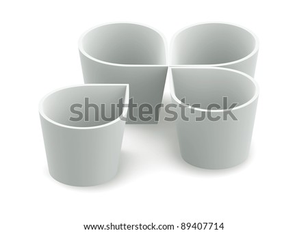 White form flower bowl cup on white background. Isolated 3d model