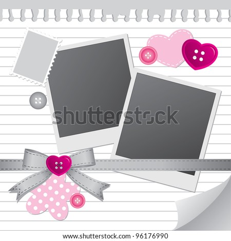 white frame for photos with scrapbook elements