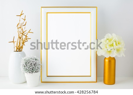 White frame mockup with small cactus. Frame mockup. Poster design gold frame mockup.