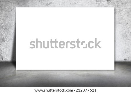 white frame on a concrete wall and floor #212377621