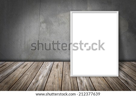 white frame on a concrete wall and the wooden floor #212377639