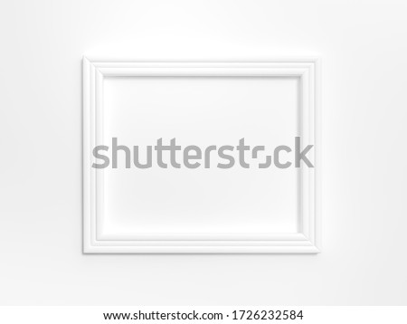 White frame on white background 3d rendering. 3d illustration Modern picture frame, Empty white border frame, Blank picture frame on white wall template minimal concept.