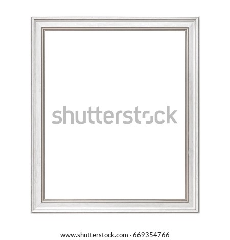 White Framework in antique style. Vintage picture frame isolated on white background