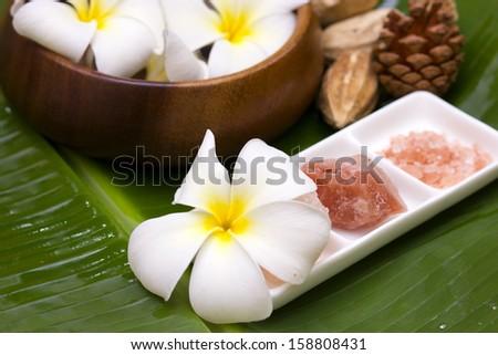 White frangipani with salt soap crystal