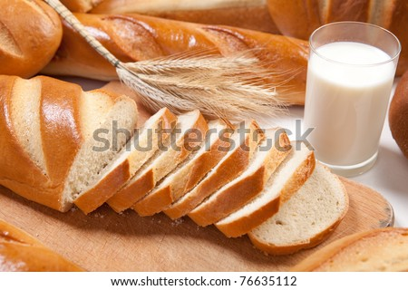 White freash bread with glass of fresh milk