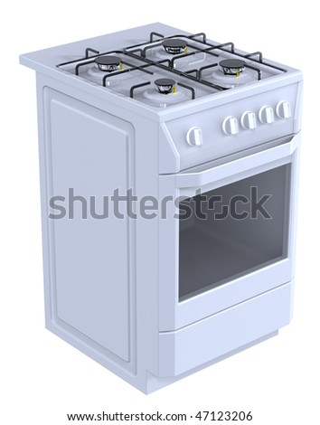 White free standing cooker. Computer generated 3D photo rendering.
