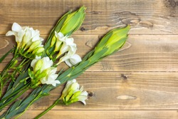 White Freesia flowers. Bouquet on wooden boards.