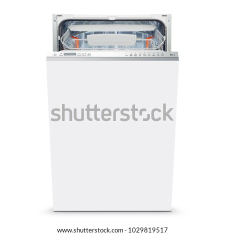 White Freestanding Dishwasher Isolated on White Background. Front View of Open Dishwasher Machine. Modern Stainless Steel Dishwasher Range. Kitchen Appliances. Domestic Appliances. Home Appliances #1029819517