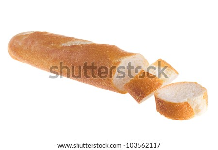 White french baguette bread with sesame isolated on white background