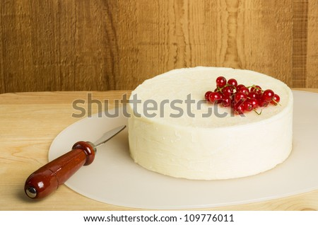 White fresh cheddar cheese with knife and currants
