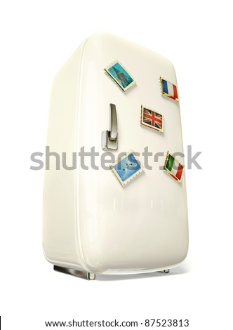 white fridge vith a colorful travel stickers.